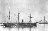 USS Trenton before being wrecked in the Samoa Hurricane of March, 1889.