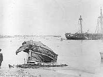 The shattered section of SMS Eber bow taken a few days after the Samoa Hurricane of 1889.