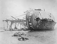 SMS Adler, propeller and rudder ripped off when she hit the reef during the Samoa Hurricane, her back broken