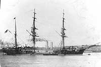 SMS Olga before being severely damaged in the Samoa Hurricane of March, 1889